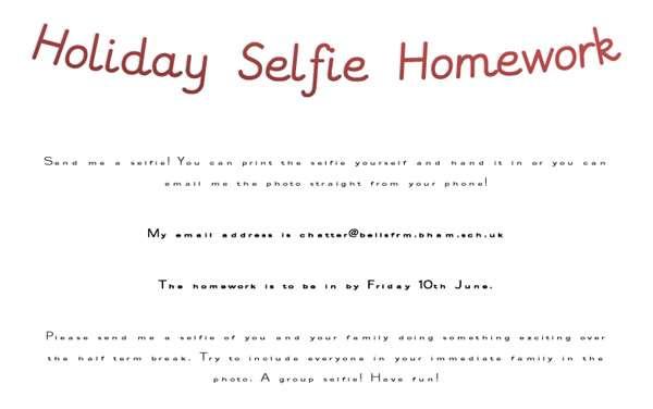Holiday 2 Selfie Homework